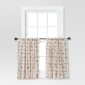 threshold floral print tier cafe curtains